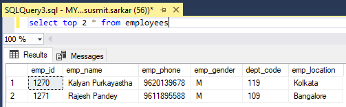 UPDATE TOP (4) FROM employees SET emp_location='Kolkata';