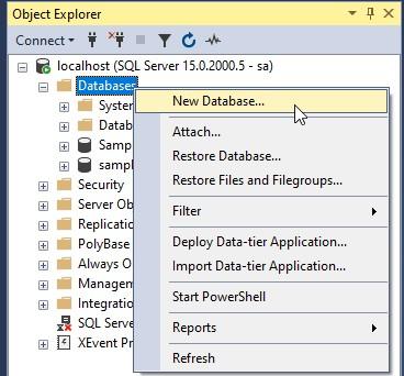 SQL Server Create Database using SQL Server Management Studio