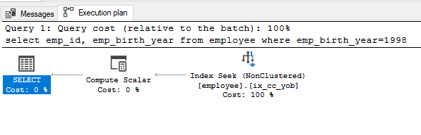 Query execution plan after index on computed columns